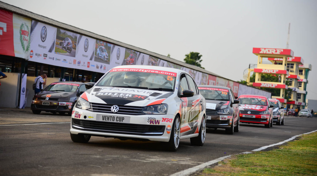 Exiting the pits at Round 2, Vento Cup 2016. Image © Volkswagen Motorsport India